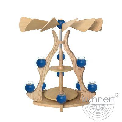 Drechslerei Kuhnert - Massivholzpyramide - blau
